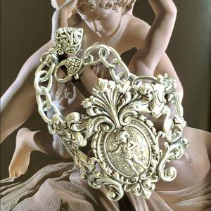 Silver Art Nouveau Bracelet cuff